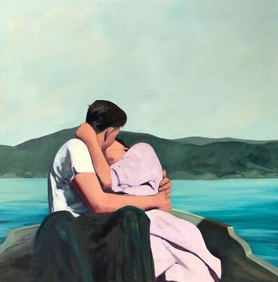 T.S. Harris, '''Summer Is For Lovers'' Oil painting of couple kissing on a boat in a blue lake with a mountain view ', 2019