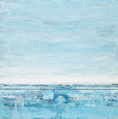 """John Schuyler, '""""Respiro #99"""" Abstract mixed media diptych in blues', 2010-2017"""