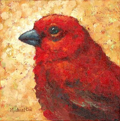 """Michael-Che Swisher, '""""Moods"""" impasto oil painting of a red bird on a yellow background', 2010-2018"""