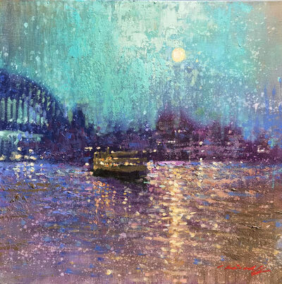 David Hinchliffe, 'Moonlight on the Harbour', 2019