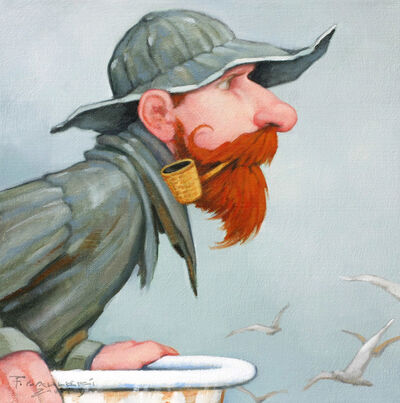 "Fred Calleri, '""Mermaid Mirage"" Oil painting of a fisherman with a red beard and cigar', 2019"