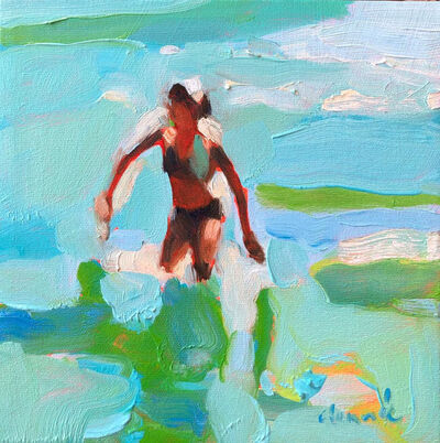 Elizabeth Lennie, '''Mythography 137'' abstract oil painting of a women in blue and green ocean', 2019