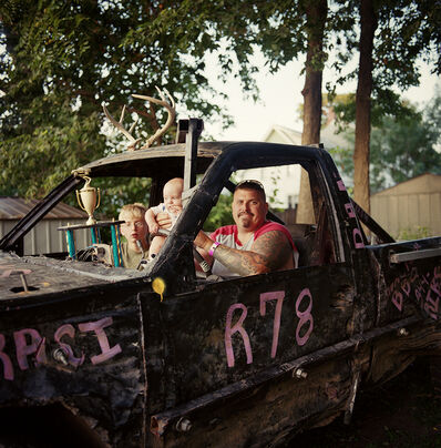Chris Verene, 'Dan, Dalton, and Keeghan in the Demolition Derby Truck', 2012