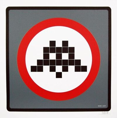 Invader, 'Warning Invader (Grey)', 2011