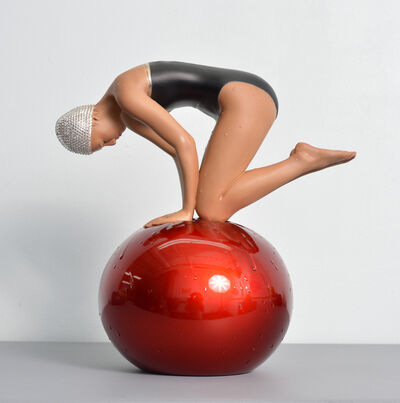 Carole A. Feuerman, 'Miniature Quan with Red Ball and Swarovski Crystal Cap ', 2020