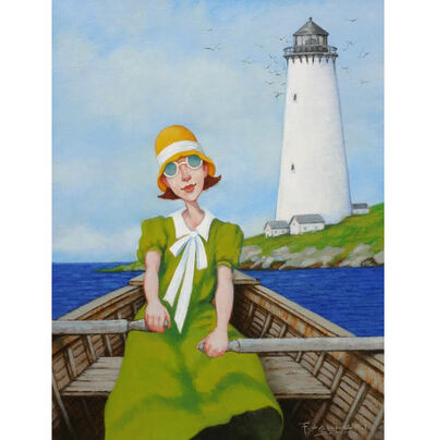 "Fred Calleri, '""Sunday's Beacon"" oil painting of a woman in a green dress rowing a boat by a lighthouse', 2018"