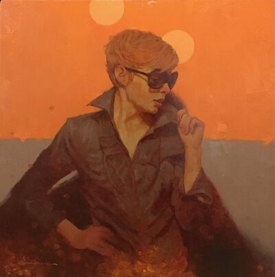 """Joseph Lorusso, '""""Shades"""" oil painting of a woman in sunglasses with an orange background', 2010-2019"""