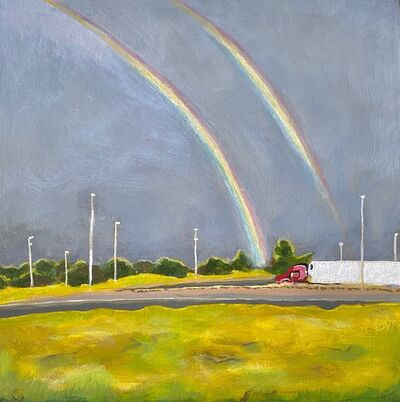 Kyla Kegler, 'Double rainbow in Waverly Nebraska at a weigh station pull-off on the way to Colorado, Summer 2018, 1.5 B.C. ', 2018