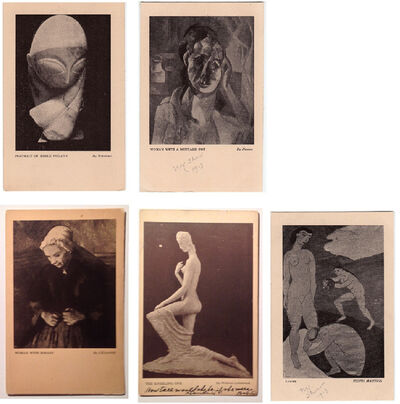 1913 Armory Show, '5-Armory Show 1913, Exhibition Cards, Brancusi, Cezanne, Lehmbruck, Matisse, Picasso, RARE', 1913