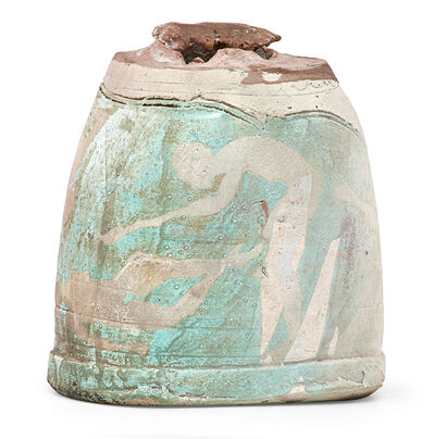 Paul Soldner, 'Raku-fired vessel with silhouetted figures, Claremont, CA', 1970s