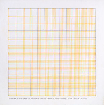 Sol LeWitt, 'Successive rows of yellow, straight lines; From left to right & orizzontal from top to bottom', 1972