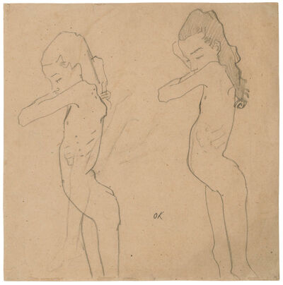 Oskar Kokoschka, 'Two Studies of Lilith Lang in Profile', 1907