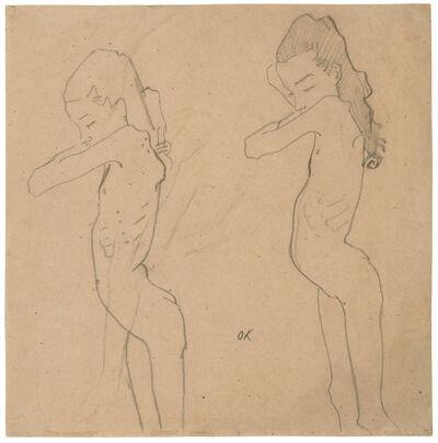 Oskar Kokoschka, 'Two Studies of Lilith Lang in Profile', 1907
