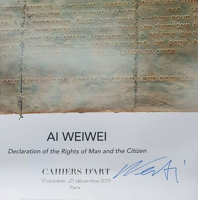 "Ai Weiwei, ''DECLARATION OF RIGHTS OF MAN AND THE CITIZEN""', 2019"