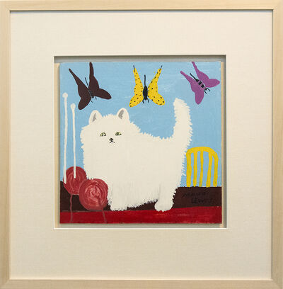 Maud Lewis, 'White Cat With Yarn and Butterflies', mid-20th Century