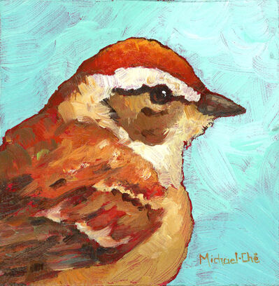 "Michael-Che Swisher, '""The Golds Will Get It"" Oil portrait of a brown and white bird with turquoise background', 2019"