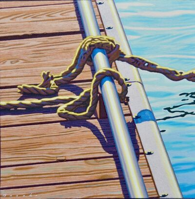 "Rob Brooks, '""Dock Knots"" Rope Tied on a Dock in Dramatic Light with Reflection in Water', 2018"