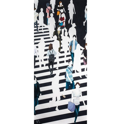 "Martta García Ramo, '""La Chica De Amarillo"" oil painting of pedestrians walking on black and white crosswalk', 2019"