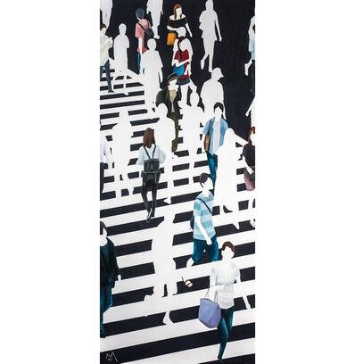 "Martta García Ramo, '""La Chica De Amarillo"" oil painting of pedestrians walking on black and white crosswalk', 2019"