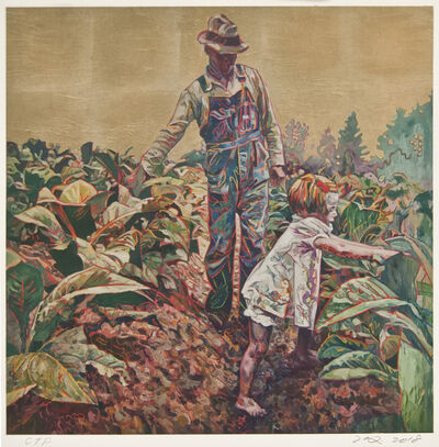 Hung Liu, 'Tobacco Sharecroppers (Gold) CTP'