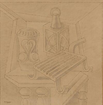 Fortunato Depero, 'Natura morta con griglia lanterna e vaso', ca 1940