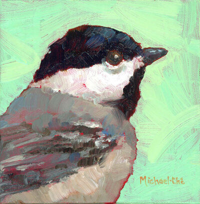 "Michael-Che Swisher, '""Misty Morning"" Oil portrait of a black, white and gray bird with green background', 2019"