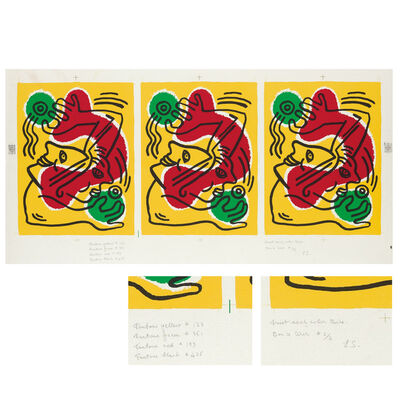 "Keith Haring, '""International Volunteer Day"", ARTIST PROOF UNSIGNED, Bon à Tirer Proof Sheet 3 Impressions, WFUNA United Nations', 1988"