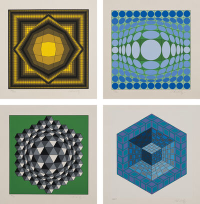 Victor Vasarely, 'Vega: 6 plates; and [Untitled]: 3 plates', 1968-1980