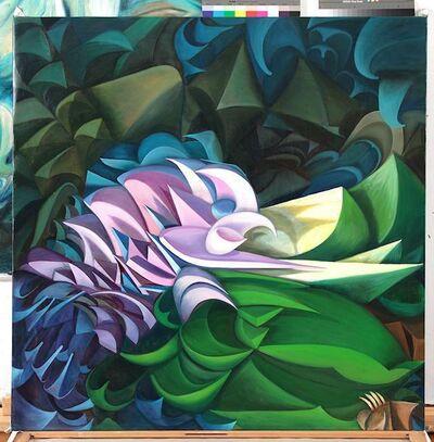 Olga Tobreluts, 'Pink-Blue Birds Flowers', 2015