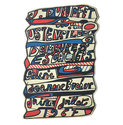 "Jean Dubuffet, '""Ustensiles Escaliers"", 1967 Exhibition Poster (die-cut), Galerie Jeann Bucher Paris, Screen Print ', 1967"