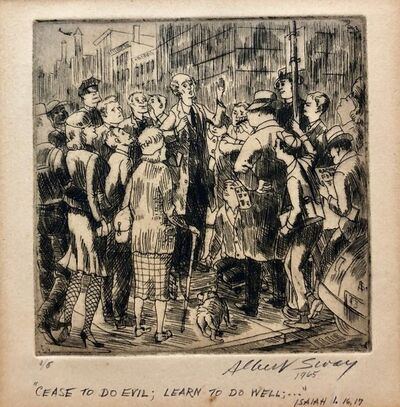 Albert Sway, 'New York Social Realist Etching Cease To Do Evil Learn To Do Well WPA Artist NYC', 1960-1969