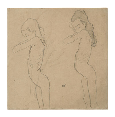 Oskar Kokoschka, 'Two Nude Studies of Lilith Lang in Profile', 1907