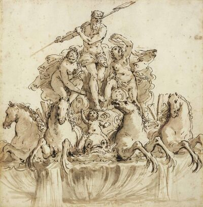 Francesco Salvator Fontebasso, 'Design for a fountain of Neptune in his chariot drawn by four hippocamps, flanked by nymphs and putti'