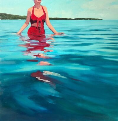 "T.S. Harris, '""Dazzling Sea"" oil painting of a woman in a red bikini wading in the teal ocean', 2020"
