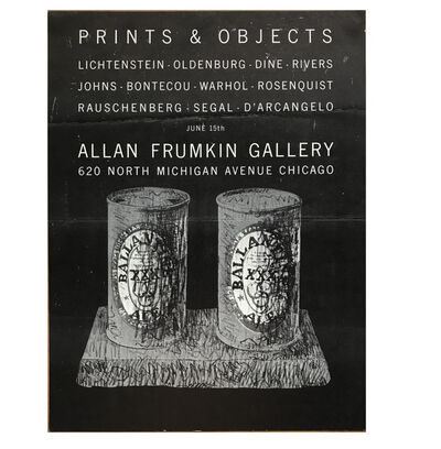 "Jasper Johns, '""Prints & Objects"", Exhibition Mailer/Poster, Allan Frumkin Gallery Chicago, POST MARKED', 1960's"