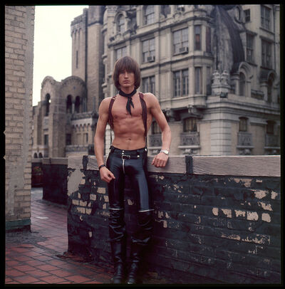 Peter Berlin, 'Self Portrait on the Roof of the Ansonia (Leather Pants)', c. 1970s