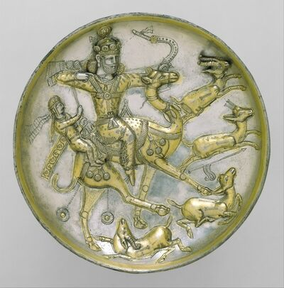 Unknown Sasanian, 'Plate with a hunting scene from the tale of Bahram Gur and Azadeh', ca. 5th century A.D.