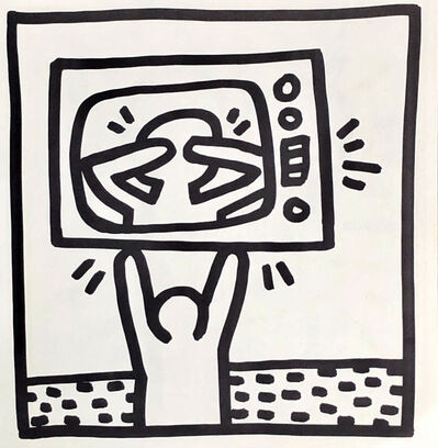 Keith Haring, 'Keith Haring lithograph 1982 (untitled Haring TV man)', 1982