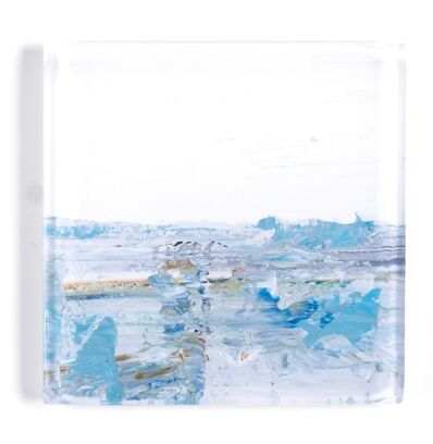 "John Schuyler, '""Vetro 0918-01 F"" abstract paintings behind an acrylic tile', 2018"