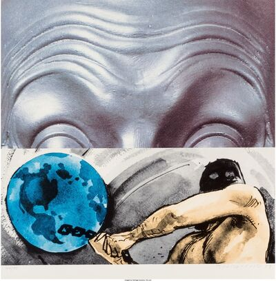 John Baldessari, 'Raised Eyebrows/Furrowed Foreheads: Figure with Globe', 2009