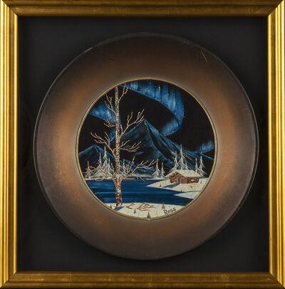 Bob Ross, 'Bob Ross Signed Original Oil on Velvet inside Gold Pan Painting Contemporary Art', 1970-1990