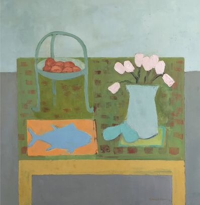 "Anne Harney, '""Tuna And Tulips"" contemporary abstract still life of pink flowers with blue fish on a green table with fruit', 2010-2018"