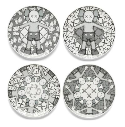 KAWS, 'Limited Ceramic Plate Set - Grey (Set of 4)', 2019