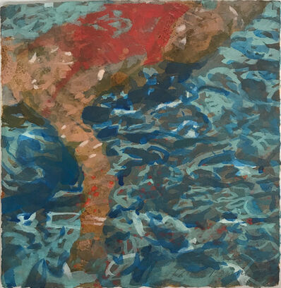 "Carol Bennett, '""Havenhurst"" abstract oil painting of woman under water in red bathing suit', 2017"