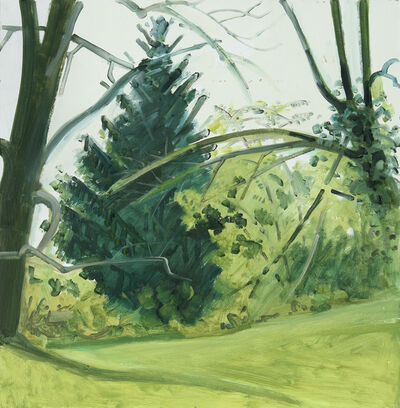 Lois Dodd, 'Hedgerow & Trees, Fall', 1989