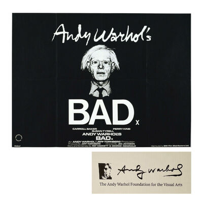 Andy Warhol, 'BAD, Movie Poster, 30 x 40 in. Andy's Personal Copy (with certificate #MISC03.0347 from The Andy Warhol Foundation for the Visual Arts).', 1977