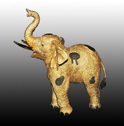 Jiang Tiefeng, 'JIANG TIE FENG Original GOLDEN Elephant BRONZE SCULPTURE Signed Chinese Gold', 1990-1999