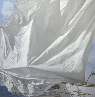 "Michel Brosseau, '""Creased Sail"" oil painting of a white sail with blue ocean behind', 2020"