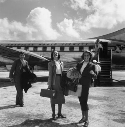 Slim Aarons, 'John F. Kennedy with Shirley Rogan Ellis and Betty LoSavio, Montego Bay Airport, Jamaica', 1953