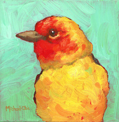 """Michael-Che Swisher, '""""The Summer Glow"""" Oil portrait of a yellow and red bird with green background', 2019"""